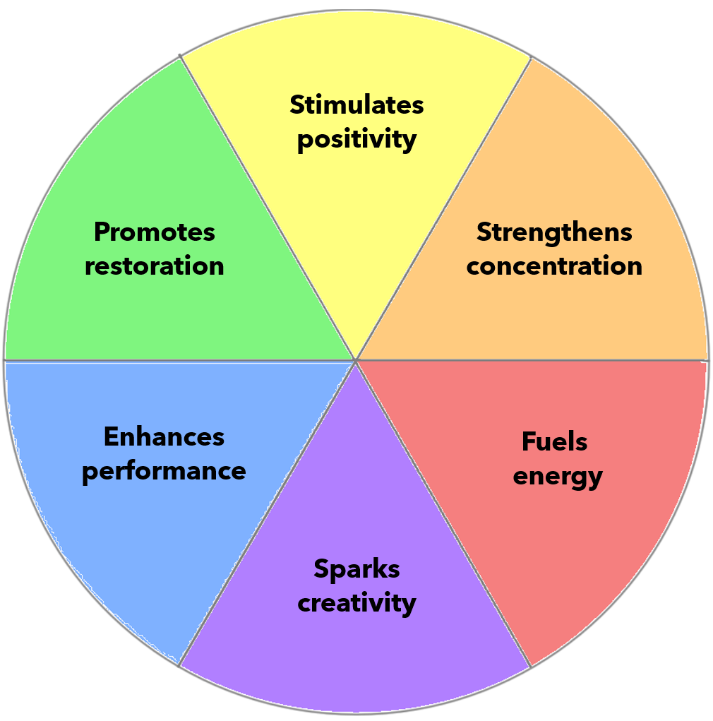 color wheel displaying color benefits