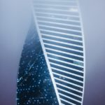 A contemporary drawing of a building as DNA